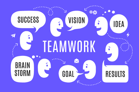 Team people with different shapes speech bubble or cloud talk with connection text Success,, Idea, Results, Brain Storm. Business people teamwork for website banner, landing page. Vector Illustration Illustration