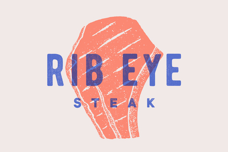 Steak, Rib Eye. Poster with steak silhouette, text Rib Eye, Steak. Logo typography template for meat business - shop, market, restaurant or design - banner, sticker, menu. Vector Illustration