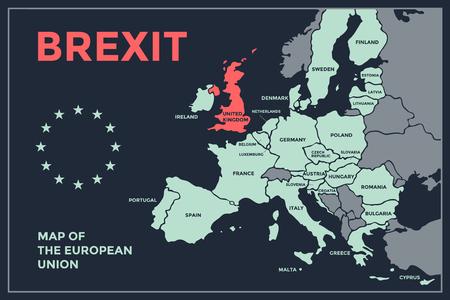 Brexit. Affiche carte de l'Union européenne avec noms de pays. Imprimer la carte de l'UE pour le web et la polygraphie, sur des thèmes commerciaux, économiques, politiques, Brexit et géographiques. Illustration vectorielle