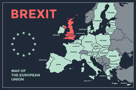 Brexit. Poster map of the European Union with country names. Print map of EU for web and polygraphy, on business, economic, political, Brexit and geography themes. Vector Illustration