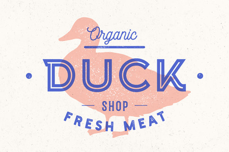 Duck meat. Vintage logo, retro print, art icon, poster for Butchery meat shop with text duck, typography, poultry, meat shop, duck silhouette. Butchery logo, meat label template. Vector Illustration