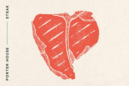 Steak, Porter House. Poster with steak silhouette, text Porter House, Steak. Logo typography template for meat business shop, market, restaurant or design - banner, sticker, menu. Vector Illustration Illustration