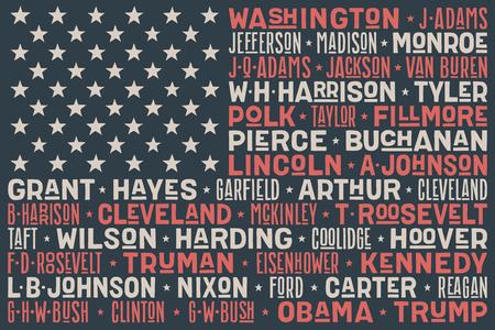 Flag USA. United States of America flag with List of Presidents of the United States - USA. Print for t-shirt of USA flag with names presidents. Vintage hand-drawn typographic. Vector Illustration Ilustração