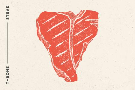 Steak, T-Bone. Affiche avec silhouette de steak, texte T-Bone, Steak. Modèle de typographie de logo pour le commerce de la viande - magasin, marché, restaurant ou design - bannière, autocollant, menu. Illustration vectorielle Logo
