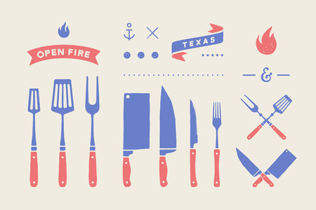 Conjunto de carne vintage. Conjunto de cuchillo para cortar carne, tenedor, elementos gráficos de la vieja escuela, icono de fuego, parrilla y herramientas de barbacoa. Suministros de carnicero y barbacoa, cuchillo, tenedor de parrilla para temas de carne. Ilustración vectorial