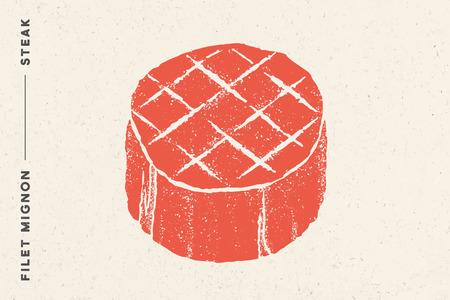 Steak, Filet Mignon. Poster with steak silhouette, text Filet Mignon, Steak. Logo typography template for meat business shop, market, restaurant or design - banner, sticker, menu. Vector Illustration