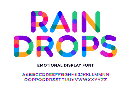 Colorful font. Colorful bright alphabet and font. Emotional bold uppercase color letters. Type, typography letter latin font. Hand-drawn modern narrow font for headline, text. Vector Illustration 일러스트