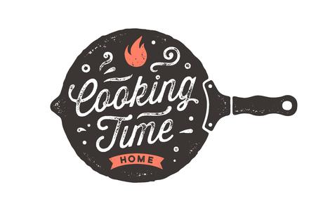 Kooktijd. Keuken poster. Keuken wand decor, teken, offerte. Poster voor keukenontwerp met koekenpan en kalligrafie belettering tekst kooktijd. Uitstekende typografie. vectorillustratie
