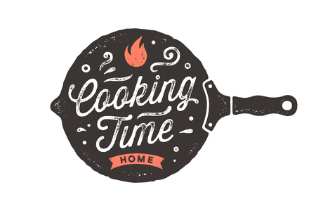 Cooking Time. Kitchen poster. Kitchen wall decor, sign, quote. Poster for kitchen design with frying pan and calligraphy lettering text Cooking Time. Vintage typography. Vector Illustration
