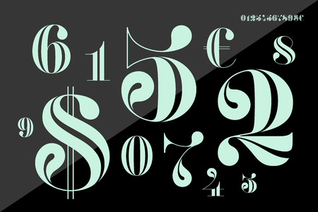 Font of numbers in classical french didot or didone style with contemporary geometric design. Beautiful elegant numeral, dollar and euro symbols. Vintage and retro typographic. Vector Illustration