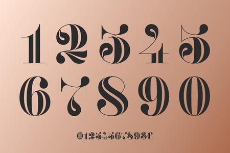 Carattere di numeri in classico stile francese didot o didone con design geometrico contemporaneo. Bellissimi ed eleganti simboli numerici, dollaro ed euro. Tipografica vintage e retrò. illustrazione vettoriale