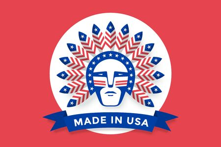 Icon of American man with Indian chief feathers on the head and inscription Made in USA. Set of symbols and design elements for Independence Day in United States of America. Vector Illustration
