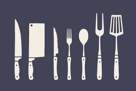 Juego de cocina vintage. Conjunto de cuchillo para cortar carne, tenedor, cuchara, elementos gráficos de la vieja escuela. Conjunto de equipo de cocina: cuchillo de carnicero, cuchillo de carne, tenedor, cuchara, cuchillo de mesa. Ilustración vectorial