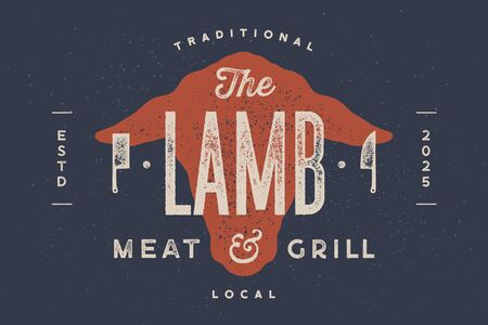 Lamb, sheep. Vintage typography, lettering, retro print, poster for Butchery meat shop, sheep head silhouette with lettering text Lamb. Isolated silhouette sheep head, meat theme. Vector Illustration