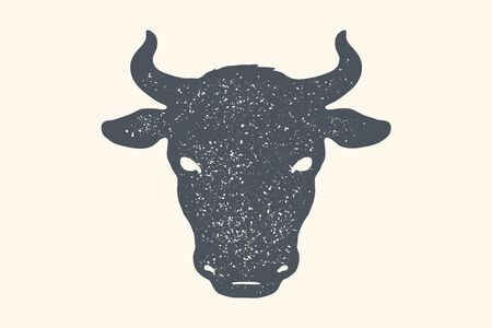 Cow, bull. Vintage retro print, poster, banner. Black and white silhouette cow head for Butchery meat shop. Isolated silhouette cow head, meat theme. Vector Illustration