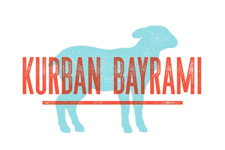 Kurban Bayrami. Lamb, sheep. Concept design of farm animals - Lamb or Sheep side view profile. Isolated silhouette lamb or sheep, text Kurban Bayrami on Turkish, Islamic holiday. Vector Illustration Ilustracja