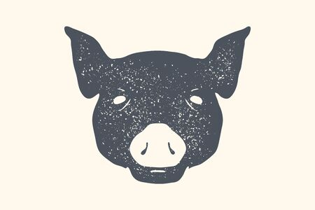 Pig. Vintage retro print, poster, banner. Black and white silhouette pig head for Butchery meat shop. Isolated silhouette pig head, meat theme. Vector Illustration Ilustracja