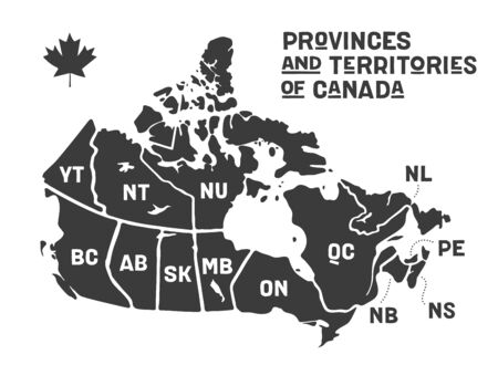 Map Canada. Poster map of provinces and territories of Canada. Black and white print map of Canada for t-shirt, poster or geographic themes. Hand-drawn black map with provinces. Vector Illustration
