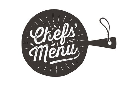 Chefs Menu. Wall decor, poster, sign, quote. Poster for kitchen design with cutting board and calligraphy lettering text Chefs Menu. Vintage typography. Vector Illustration