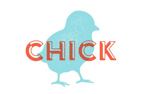 Chick, poultry. Vintage logo, retro print, poster for Butchery meat shop with text typography Chick, chick silhouette. Label template poultry, chicken. Vector Illustration