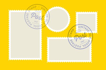 Postage stamp. Set of postage stamp, collection square, circle and rectangular postage stamps, template on dark background. Vector Illustration Stock Illustratie