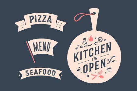 Kitchen Open. Wall decor, poster, sign, quote. Poster for kitchen design with cutting board and calligraphy lettering text Kitchen open, ribbon Pizza, Menu. Vintage typography. Vector Illustration