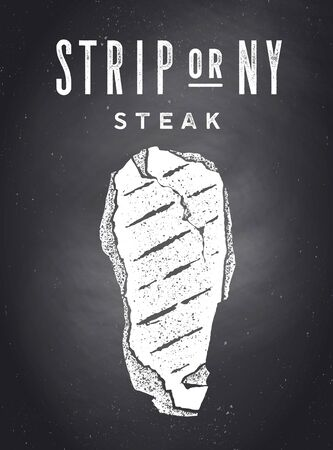 Steak, Chalkboard. Poster with steak silhouette, text Strip or New York - NY, Steak. Typography poster template for meat business - shop, market, restaurant. Chalkboard background. Vector Illustration