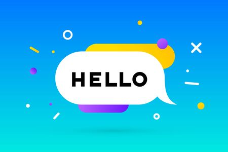Hello. Banner, speech bubble, poster and sticker concept, geometric memphis style with text Hello. Message hi, hello or hi there for banner, poster. Explosion burst design. Vector Illustration Ilustração
