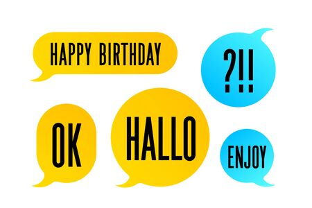 Speech Bubble. Set of colorful cloud talk speech bubble. Color isolated speech bubble talk silhouette with text Ok, Hallo, Enjoy. Design elements for message, chat. Vector Illustration