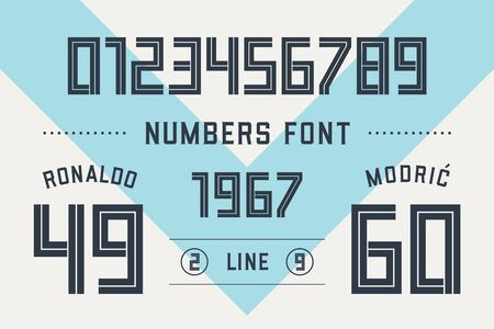 Numbers font. Sport font with numbers and numeric. Geometric Regular bold outline numbers. Strong industrial inline sport font for design, creative typographic, poster. Vector Illustration Иллюстрация