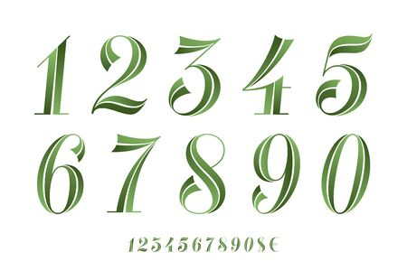Numbers Font. Classical geometric design of numbers font for eco banner, poster, greeting card. Beautiful elegant numeral, dollar, euro symbols. Vintage and retro typographic. Vector Illustration