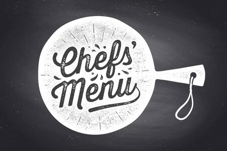 Chefs Menu, Lettering. Wall decor, poster, sign, quote. Poster for kitchen design with cutting board and calligraphy lettering text Chefs Menu. Chalkboard background, typography. Vector Illustration Ilustrace