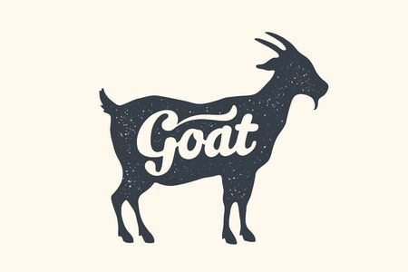 Goat, lettering. Design of farm animals - Goat side view profile. Isolated black silhouette goat with text lettering on white background. Vector Illustration Ilustrace