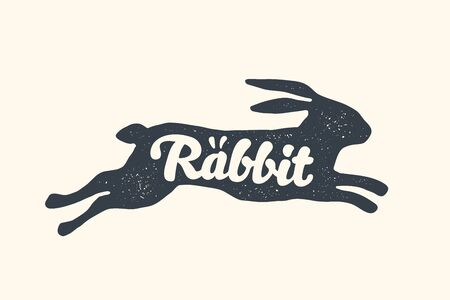 Rabbit, lettering. Design of farm animals - Rabbit or hare side view profile. Isolated black silhouette rabbit or hare with text lettering on white background. Vector Illustration