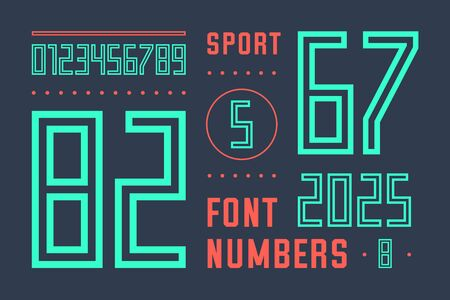 Numbers font. Sport font with numbers and numeric. Geometric Regular bold outline numbers. Strong industrial inline sport font for design, creative typographic, poster. Vector Illustration