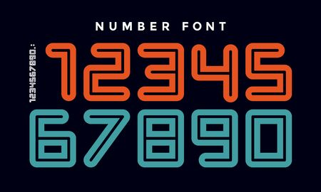 Numbers font. Sport font with numbers and numeric. Geometric regular extra bold rounded outline numbers. Strong sport font for design, creative typographic, poster. Vector Illustration