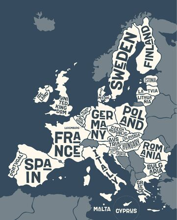 European Union, Europe. Poster map of the European Union with country names. Print map of EU for web and polygraphy on business, economic, political, Brexit and geography themes. Vector Illustration