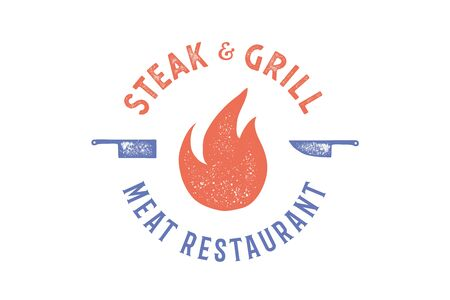 Meat logo. Logo for grill house restaurant with icon fire, knife, text typography Steak, Grill, Meat, Restaurant. Graphic logo template for restaurant, bar, cafe, food court, menu. Vector Illustration Ilustrace