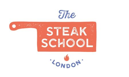 Meat logo. Logo for Cooking school with icon chef knife, text typography Steak School. Graphic logo template for cooking shool, class, kitchen course - label, banner, sticker. Vector Illustration
