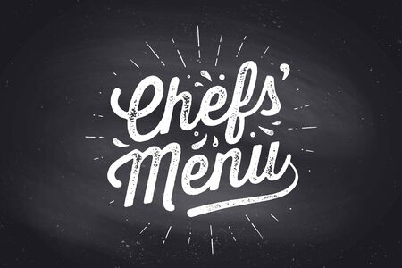Chefs Menu, Lettering. Wall decor, poster, sign, quote. Poster for kitchen design with calligraphy lettering text Chefs Menu. Chalkboard background, vintage typography. Vector Illustration Ilustrace