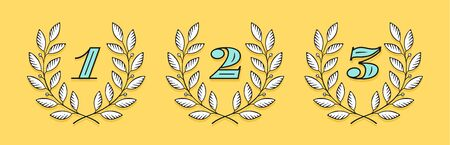 Laurel wreath icon with number 1, 2, 3 isolated on a yellow background. Hand drawn design One, Two, Three and element for tournament, competition, winner, prize and awarding. Vector Illustration