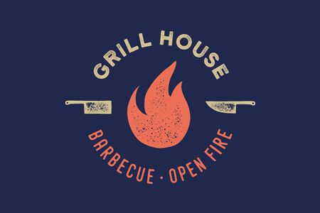 Meat logo. Logo for grill house restaurant with icon fire, knife, text typography Grill House, Barbecue, Fire. Graphic logo template for restaurant, bar, cafe, food court and menu. Vector Illustration Ilustrace