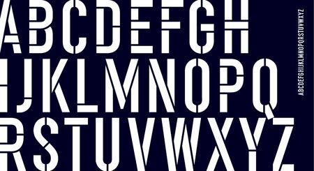 Stencil font. Black and white condensed alphabet and line font. Condensed bold uppercase stencil line letters. Type, typography letter, latin hand-drawn line font. Vector Illustration Ilustrace