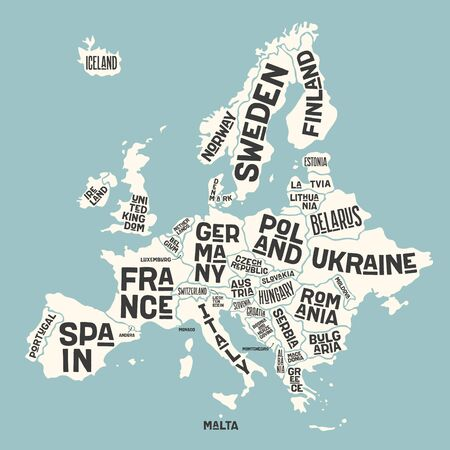 Europe, map. Poster map of the Europe with country names. Print map of Europe for web and polygraphy on business, economic, political, geography themes. Vector Illustration