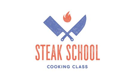 Meat logo. Logo for Steak School with icon chef knife, text typography Steak School. Graphic logo template for cooking school, class, kitchen course - label, banner, sticker. Vector Illustration