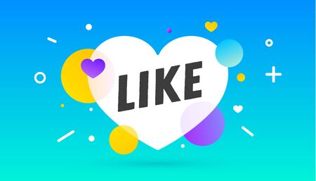 Like, speech bubble. Notifications icon Like, banner, speech bubble, poster and sticker concept, geometric style with text Like, icon with heart. Explosion burst design. Vector Illustration Ilustracja