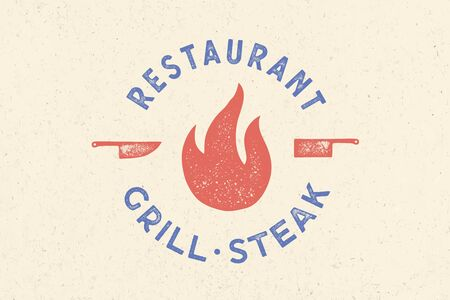 Meat logo. Logo for grill house restaurant with icon fire, knife, text typography Restaurant, Grill, Steak. Graphic logo template for restaurant, bar, cafe, food court and menu. Vector Illustration