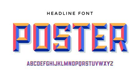 3D Modern Font . Colorful modern alphabet and 3d font. Bold uppercase retro letters with facet. Type, typography letters latin font. Hand-drawn modern font for headline, text. Vector Illustration