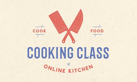 Cooking school class with icon chef knife, butcher knife, text typography Coocking Class. Graphic template for cooking school, class, kitchen course. Vector Illustration Vectores