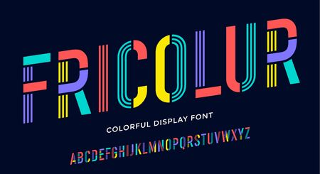 Stencil font. Colorful condensed alphabet and line font. Condensed bold uppercase stencil line letters. Type, typography letter, colorful latin hand-drawn line font. Vector Illustration
